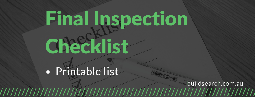 Final inspection checklist before settlement