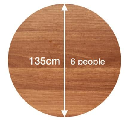 circle table size